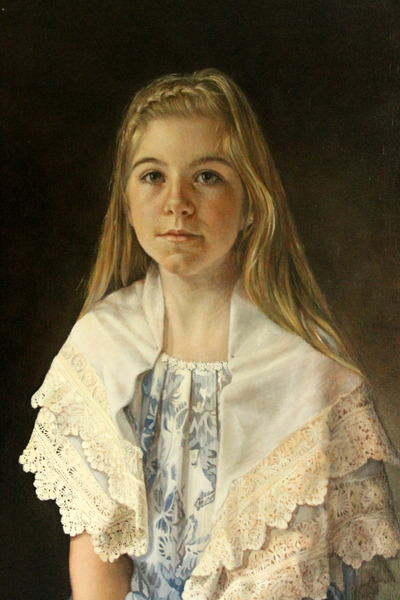 The Lace Maker, oil on linen, by Sophie Ploeg